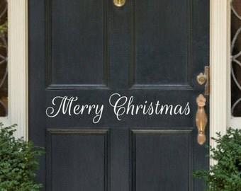 Merry Christmas Decal Christmas Decal Christmas Door Decal Christmas Vinyl Lettering Christmas Decor Entry way Door Decal