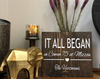 It All Began Wood Sign   Wall Art   Personalized Anniversary Sign   Wedding Gift   Special Date   Our Story   Love Story