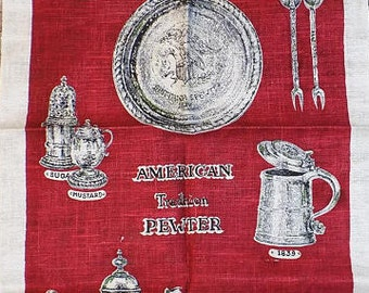 """Vintage Linen Kay Dee """"American Tradition Pewter"""" Red Tea Towel or Dish Cloth featuring American Tradition Pewter Pitcher, Plate & Utensils"""
