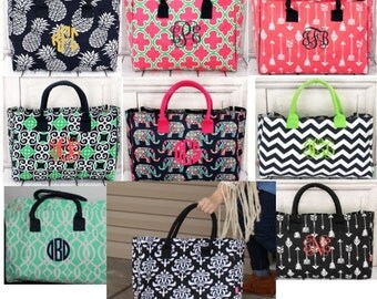 Large Monogrammed Tote/ BEACH BAG/ Gift Idea---NEW