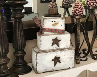 Wooden Snowman, Large Wood Snowman, Christmas Snowman Decoration, Snowman Mantel Decoration