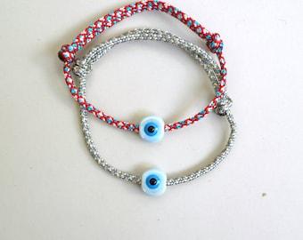 Evil Eye Bracelet,Rope Bracelet,Parachute rope,Paracord bracelet,Cord Bracelet,Evil Eye Jewelry,Unisex Gift,Talisman Ceramic bead Adjustable