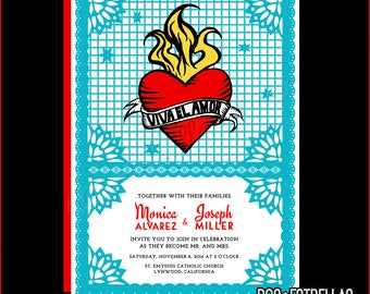VIVA EL AMOR custom printed Wedding Invitations
