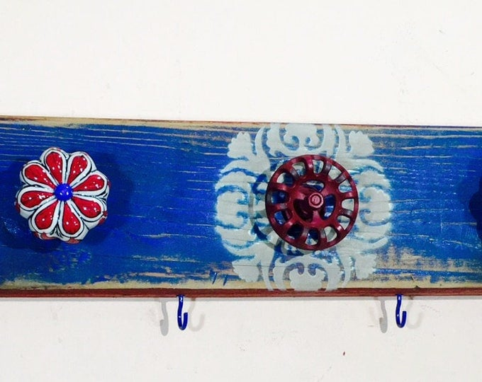 Bathroom wall decor / towel rack /bath room organization/ reclaimed wood art makeup organizer 6 colorful hooks 5 hand-painted  knobs