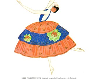 spanish dancer costume design illustration French fashion La Gazette du Bon Ton Art Deco Art Nouveau Lepape Moroccan clothvintage 1979