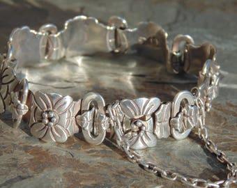 Victoria ~ Vintage Taxco Sterling Silver Flower Link Bracelet - 30 Grams c. 1950's