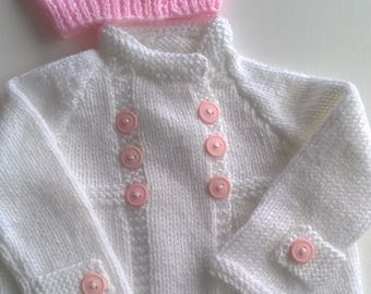 Baby Girls Hand Knitted Modern Matinee Coat and Hat 0-3 months