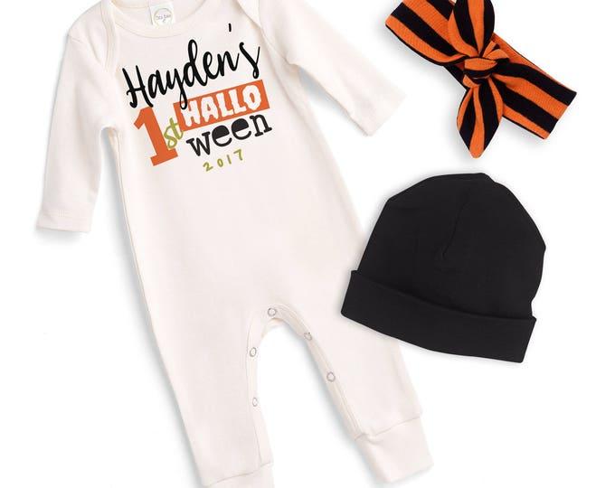 Personalized Newborn Halloween Romper Black Orange, Baby Boy Girl Custom Halloween Bodysuit, Baby Halloween Bodysuit Tesababe RS810IYOB00000