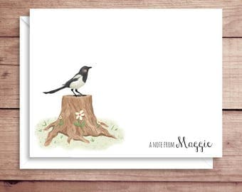 Magpie Note Cards - Bird Folded Note Cards - Personalized Stationery - Magpie Thank You Notes - Illustrated Magpie Note Cards