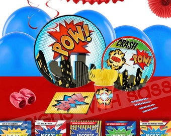Comic Book Party Kit, Party for 16, Superhero Party Kit, Party Decorations, Superhero Party Decor, Comic Book Party Decor, Party Kit, Invite