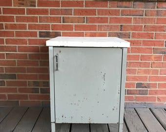 Vintage Storage Steel Metal Cabinet Industrial Gray and White Two Shelves Industrial Decor