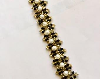 Bead weaving Bracelet Black Crystal Pearl Bracelet Pearl Jewelry Black Crystal Bracelet