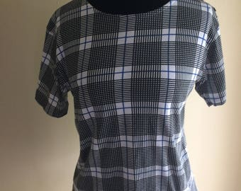 SALE Black, White, and Blue Plaid Vintage Casual Shirt with Button accent