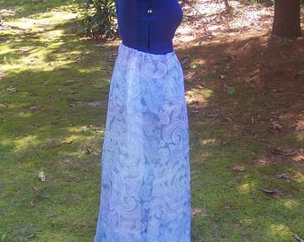 Fairy Paisley Skirt - Long Flowy Purple and Blue Pastel Paisley Skirt and Petticoat