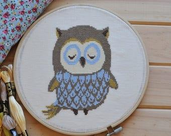 OWL bird cross stitch pattern, modern x-stitch pattern, chart, kids cross stitch
