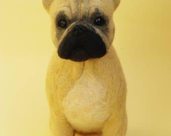 French Bulldog,Needle felted Bulldog ,OOAK figurine, animal sculpture,Art Sculpture Personalized gift