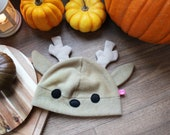 Cute deer animal fleece beanie hat, animal costume, great gift for wild animal lover and forest critter fan