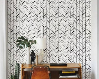 Adhesive Wall Paper removable wallpaper / self adhesive wallpaper / herringbone