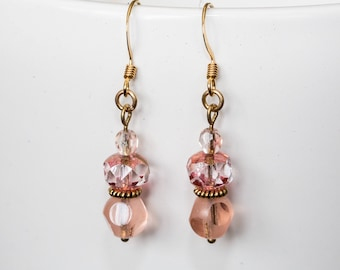 Pink and gold glass and crystal drop earrings
