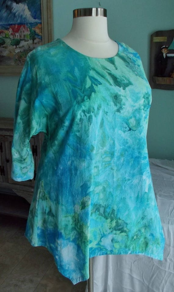 Shark bite tunic ice dye cotton tunic tie dye tunic sewn by the maker