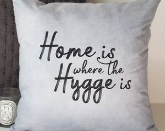 Home is Where the Hygge is Cushion - Hygge Cushion - Hygge - Typography Quote Cushion - Quote Cushion - Interiors