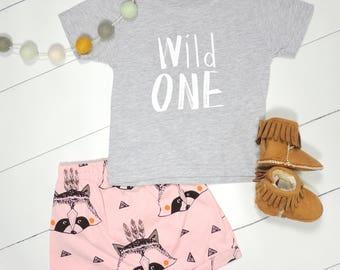 Wild ONE Unisex Shirt •  One Year Old Birthday Shirt • 1st Birthday Shirt • First Birthday Outfit  • Wild Things Birthday • Harem Shorts