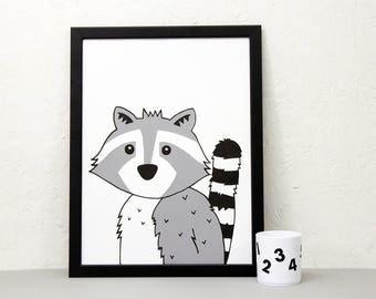 Raccoon Print, Animal wall art, A3 print, nursery print, kids room art, monochrome art print, Screen print, cute animal poster