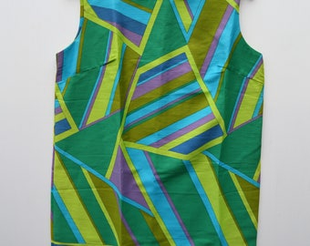 Mod Sheath Dress M L Geometric Blue Green Gold Purple by Karen Ann, Hawaii