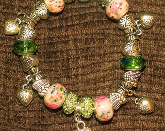 European Style Charm Bracelet in Pale Green and Pale Pink