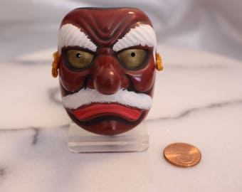 Vintage Small Japanese Noh Oni Devil Hannya Demon Mask on Stand Made in Japan