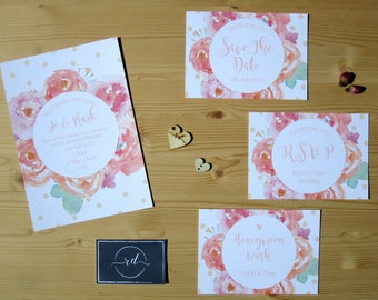Floral Watercolour Wedding Invitation
