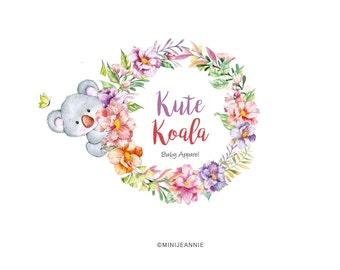 Koala Logo-Jungle Logo-Watercolor Animal Logo-Bear Logo-Nature Logo-Etsy logo-Business Logo-Premade logo-Free Font Change