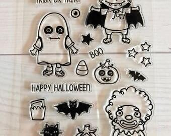 halloween stamps, halloween planner, october daily, skeleton stamps, werewolf stamps,  cat stamps, halloween scrapbook, halloween goodie bag