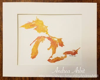 "8""x10"" Original Watercolor Painting - ""The Great Lakes in Metallic Copper and Red"""