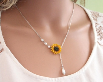 Sunflower lariat Necklace, Yellow Sunflower Bridesmaid, Sunflower Flower Necklace, Bridal Flowers, Sunflower Bridesmaid Necklace