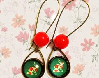 Bunny - Rabbit Earrings, Cute Beaded Long Earrings With Beautiful Flower Decoration, Vintage Pattern, Inspired by Vintage Old Art Prints