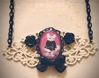 Cat on Mushroom Gothic, Goth necklace, Vintage Art Print, 1920, Kawaii, Collar, Animal lovers Gift, Victorian, Antique, Vintage, Retro