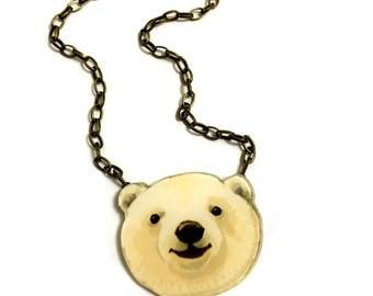 Polar Bear, Arctic White Polar Bear, Collar necklace,Animal lovers gift, White bear, Nature, Animal Rights,