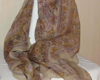 Gorgeous Vintage Silk Chiffon Scarf