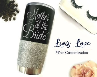 Mother of the Bride Glitter Tumblers - Stainless Steel Coffee Mugs - Engraved Matte Black 20 oz - Mother of the Groom gift