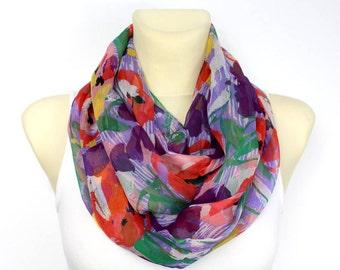 Silk Infinity Scarf Boho Clothing Spring Scarf Silk Chiffon Infinity Scarf Chiffon Silk Scarves for Women Inspirational Women Gift Mom