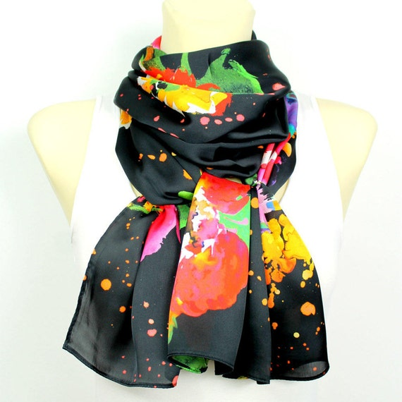 Floral Fabric Scarf Printed Boho Scarf Satin Silk Scarf Gift for Mom Grandmother Gifts Mothers Day from Daughter Summer Outdoor Summer Party