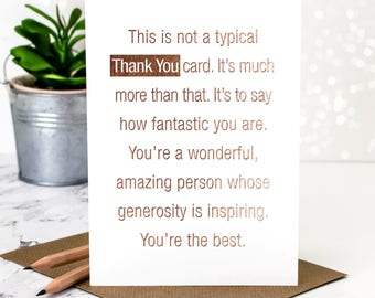 Thank You Card; Thank You; Rose Gold Foil Card; Card For Saying Thanks; GC385