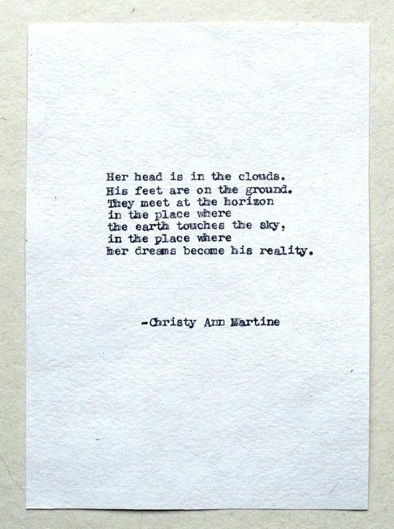 Husband Gift - Christmas Gifts for Him or Her - Hand Typed on Cotton Paper by Poet - Love Poetry
