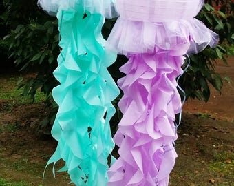 Jellyfish lantern with tulle fabric covering and tissue tentacles LIGHT UP OPTION choose from purple aqua coral pink gold and more