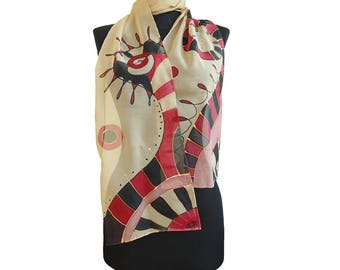 Hand painted silk chiffon scarf. Red, black and beige scarf. Abstract long scarf. Modern scarf handpainted. Women art gift.