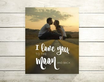 I love You To The Moon And Back | Anniversary | Valentines Day | Engagement Gift | For Her | Wedding Vow Song | Lyric On Canvas -55777