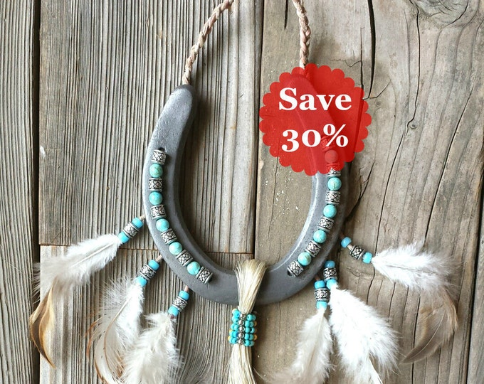 Featured listing image: Decorated Horseshoe for Your Bohemian Gypsy Home Decor With Native American Influence