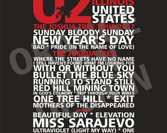U2 - Joshua Tree Tour 2017 - Soldier Field, Chicago - 3rd & 4th June 2017 - Set List Poster