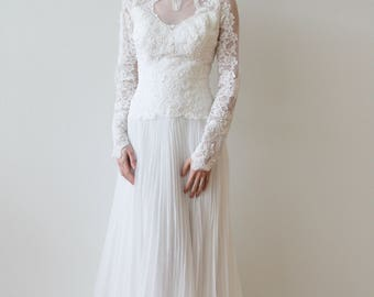 Vintage 1980s Long Sleeved Wedding Dress with Pleated Skirt